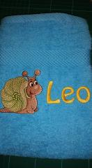 Embroidered towel with little snail free design