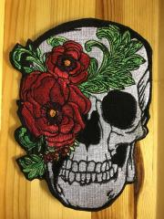 Skull with peony mask close up embroidery design