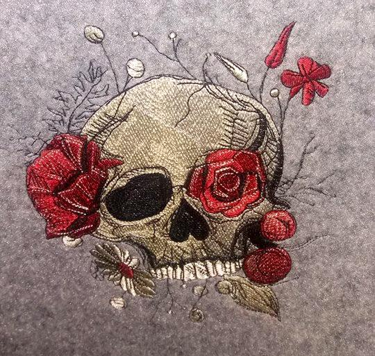 Skull with flowers embroidery design
