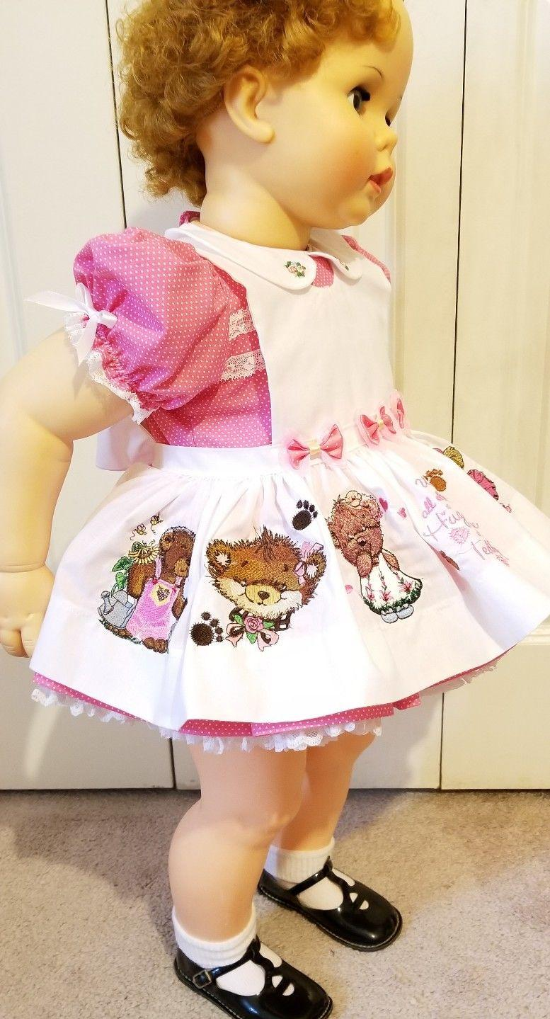 Embroidered doll dress Teddy bear design