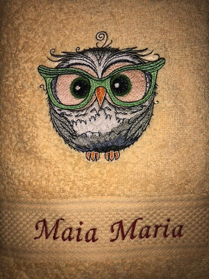 Owl in glasses embroidery design