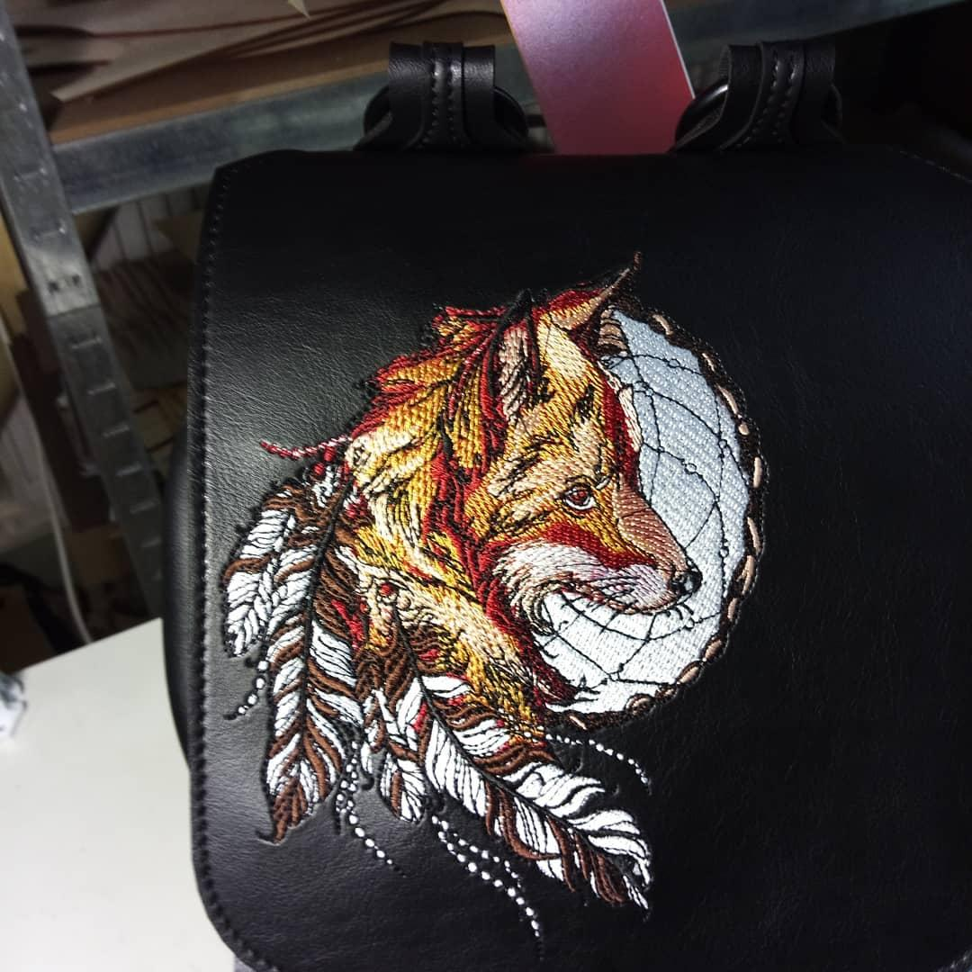 Embroidered bag with fox dreamcatcher design