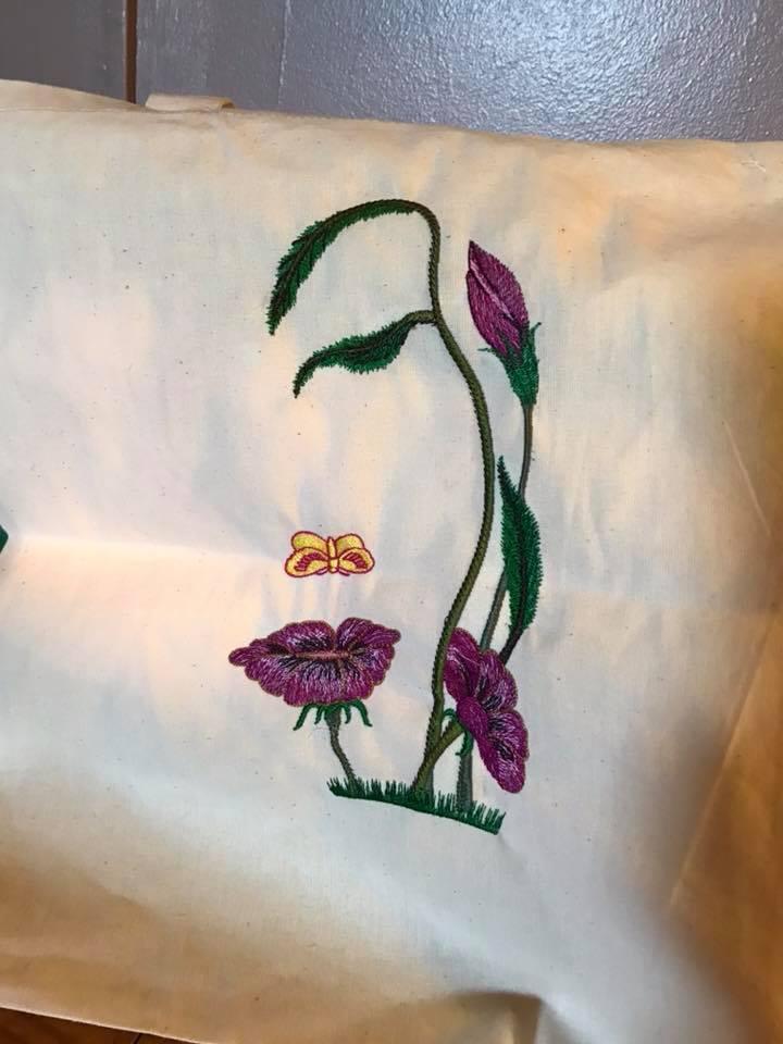 Embroidered pillow flower spirit free design
