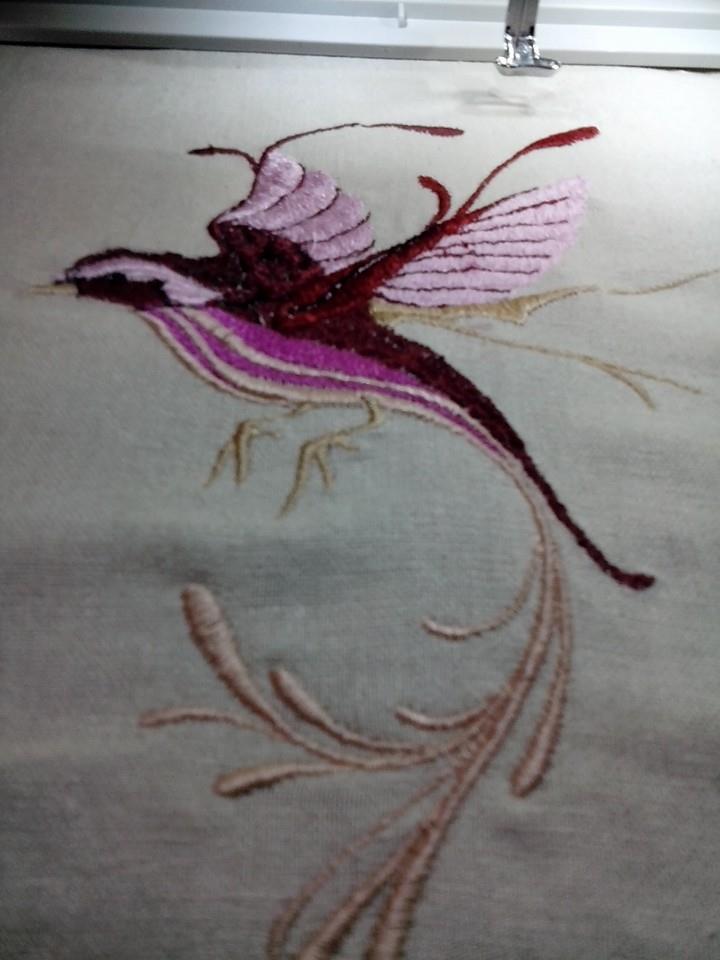In hoop Bird in flight embroidery design