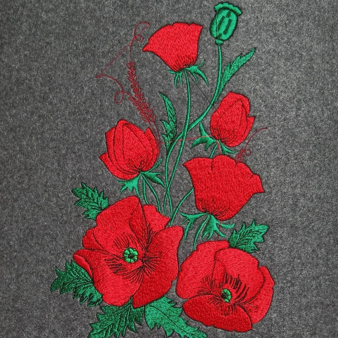 Red poppies embroidery desing