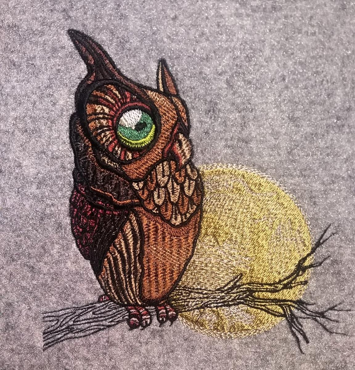 Watching owl embroidery design