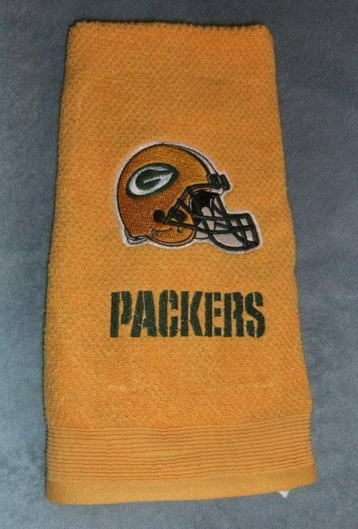 Green Bay Packers helmet on towel machine embroidery design
