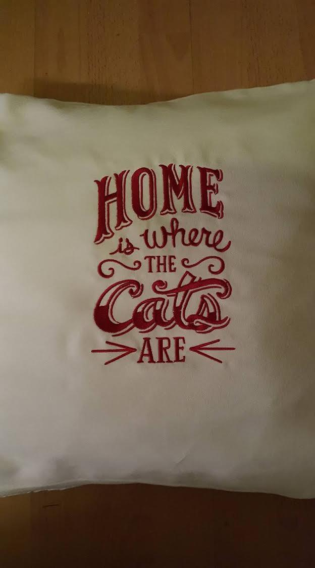 Embroidered pillow Home is where the cats are
