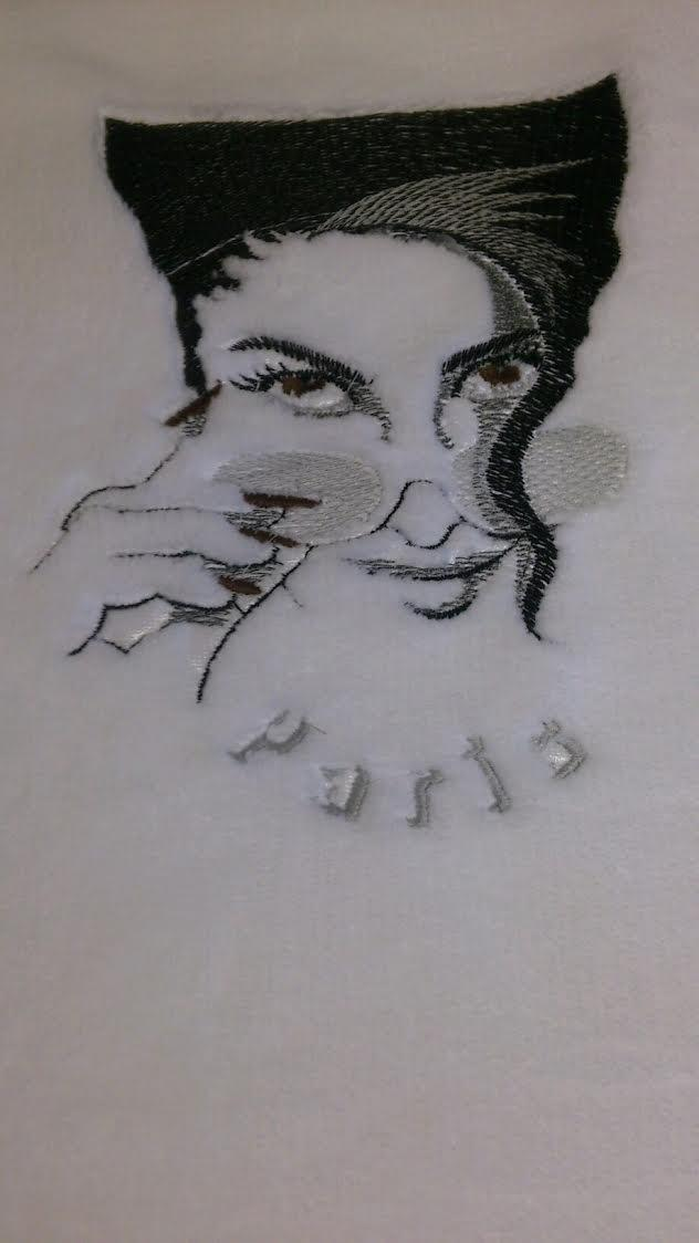 Dame in sunglasses machine embroidery design