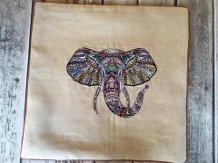 Embroidered pillowcase with mosaic elephant design