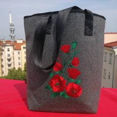 Embroidered bag red poppies