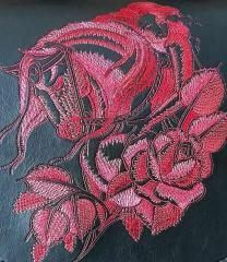 Horse and horsewoman embroidery design