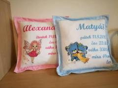 Embroidered cushions with cute characters designs