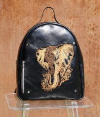 Embroidered backpack with Indian elephant design