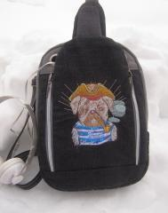 Embroidered backpack pirate dog design