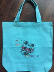 Embroidered bag little terrier design