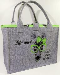Embroidered bag zebra in green glasses free design
