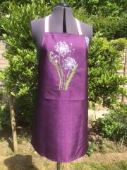 Embroidered apron light dandelions