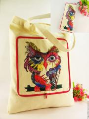 Embroidered bag with colorful owl design