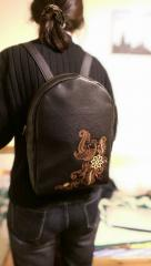 Embroidered backpack firebird in flowers design