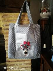 Embroidered polka dot bag with zebra in glasses free design