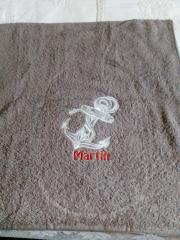 Embroidered towel white anchor