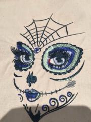 Skull makeup machine embroidery design