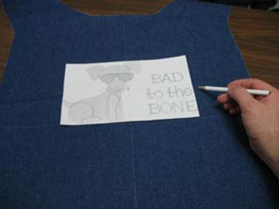 Mark place for embroidery