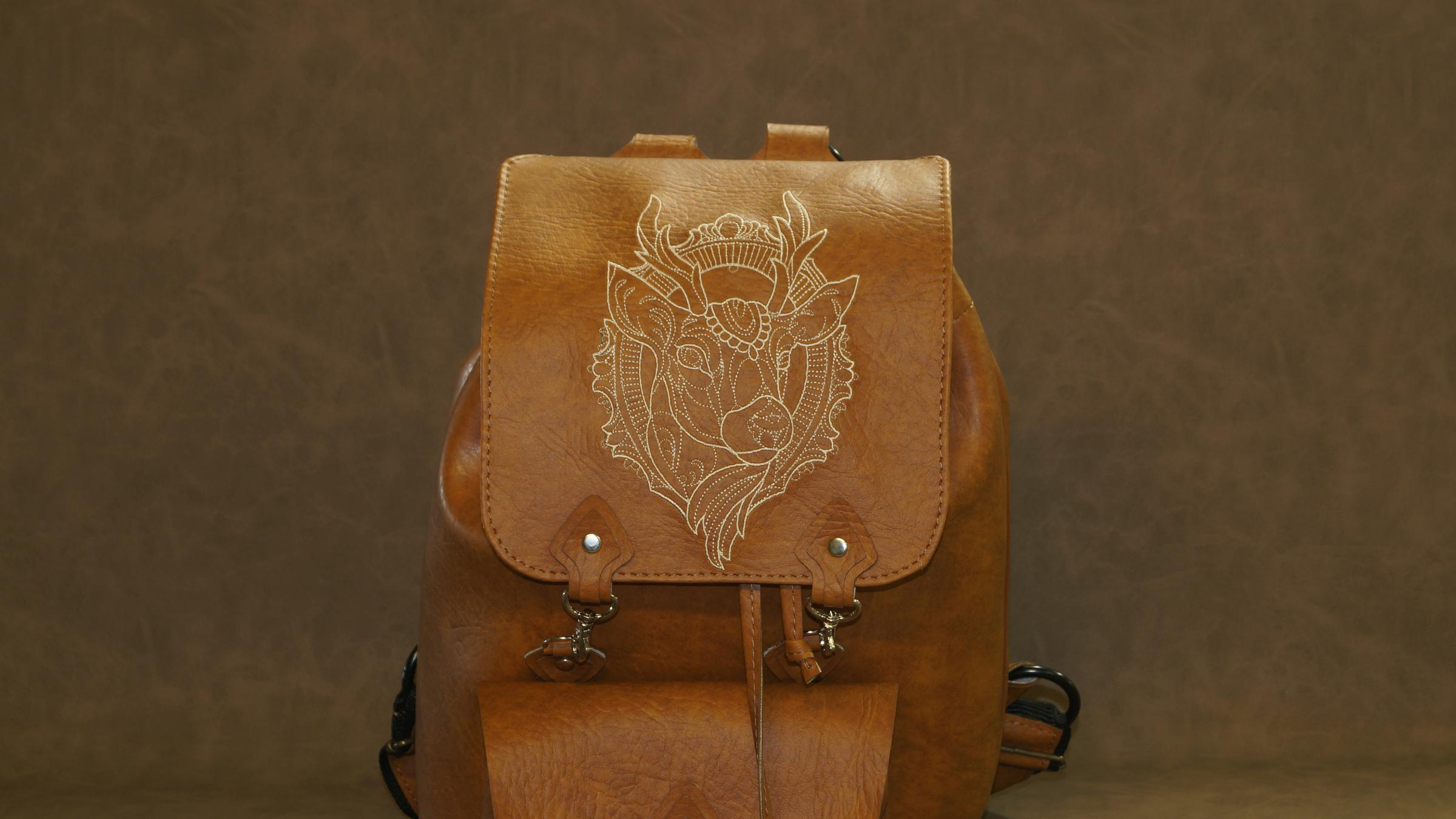 Embroidered backpack with gorgeous deer design