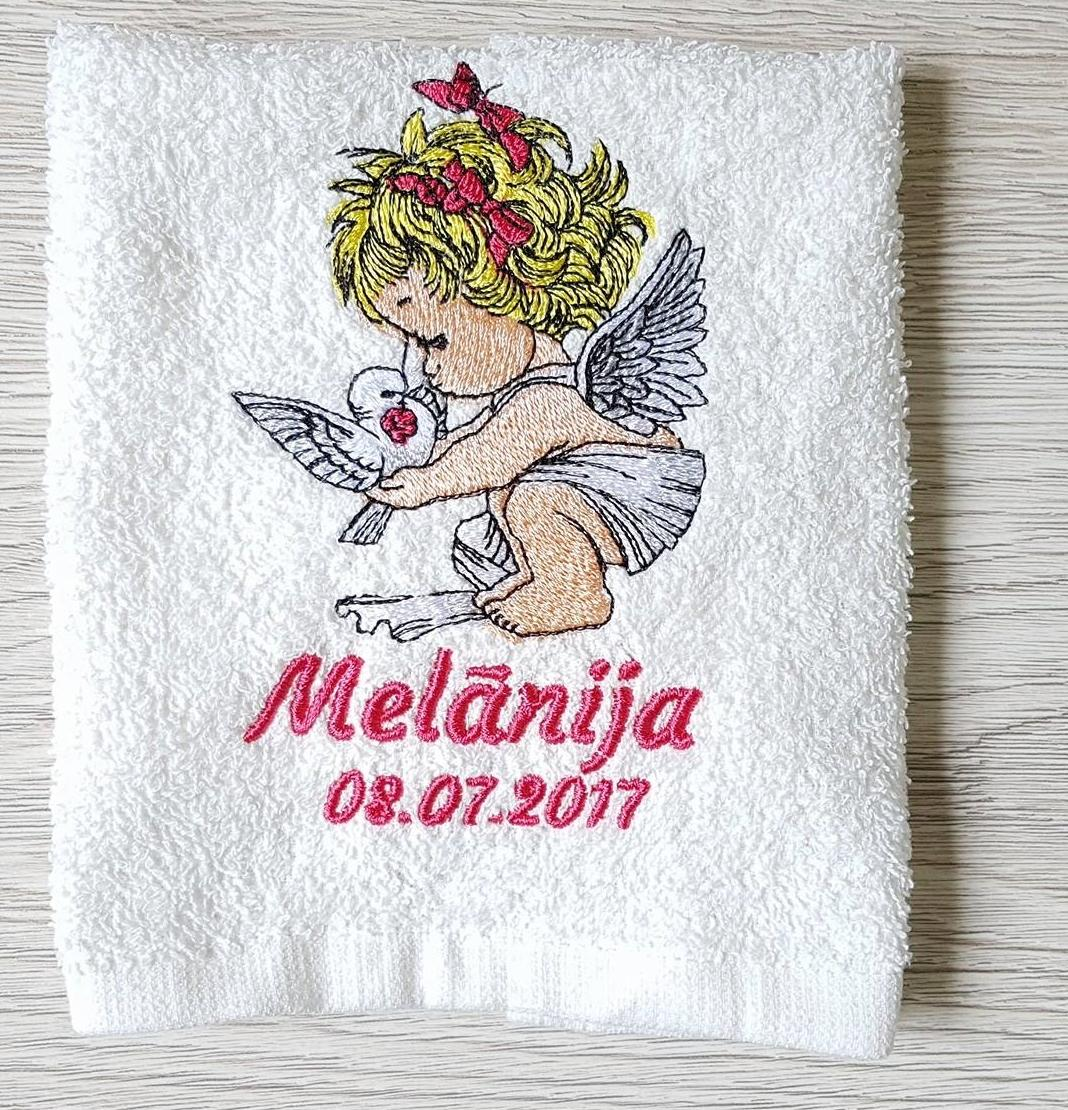 Embroidered towel with little angel design