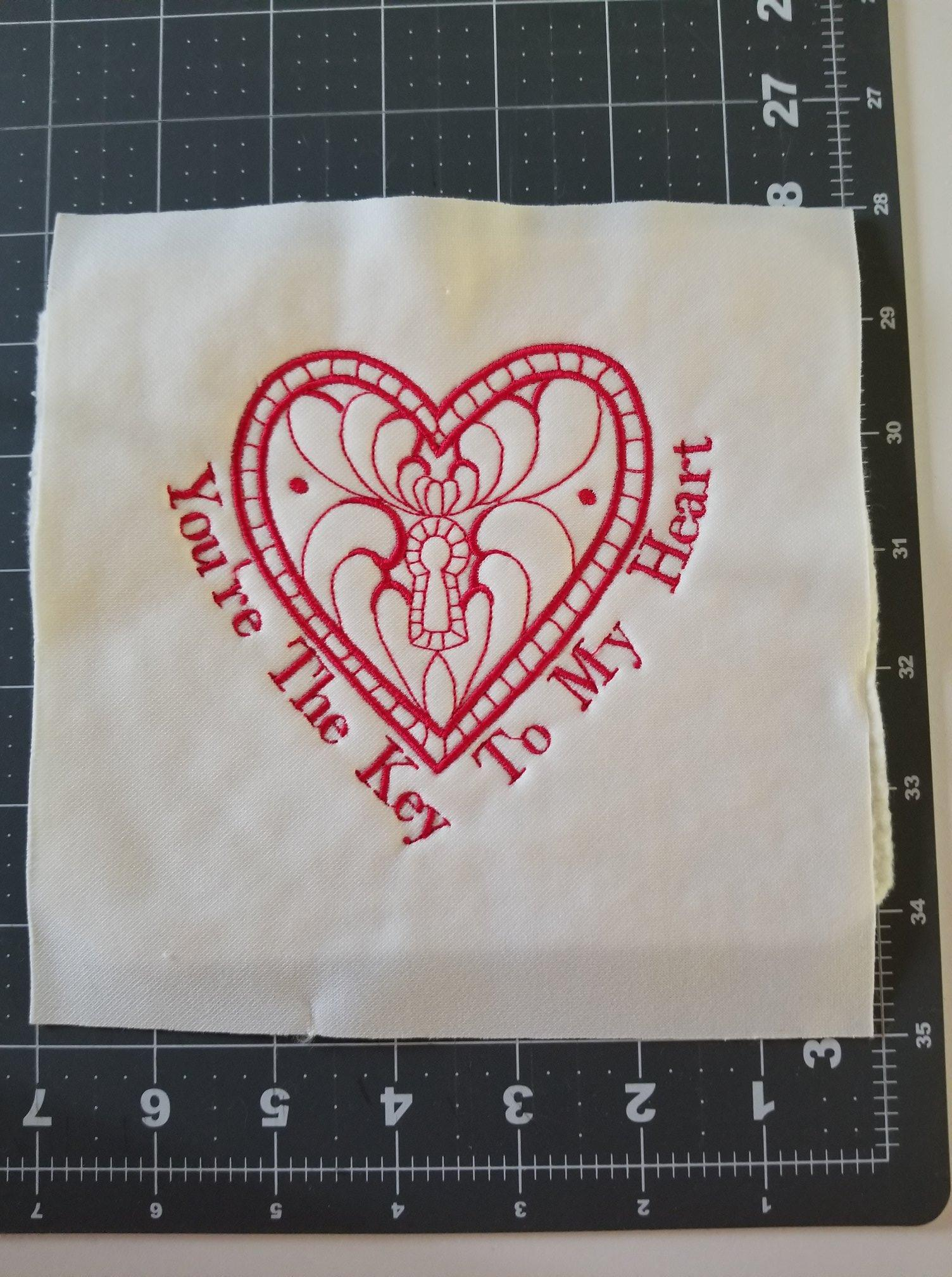Key to my heart free embroidery design