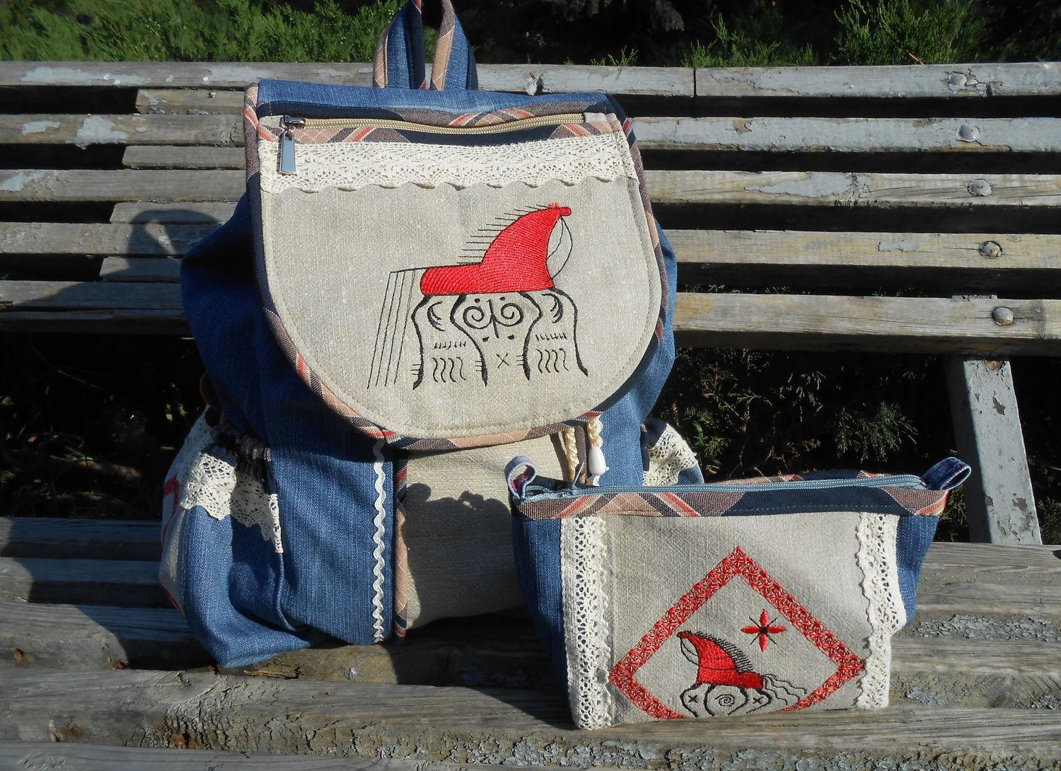 Embroidered set with modern horse free design