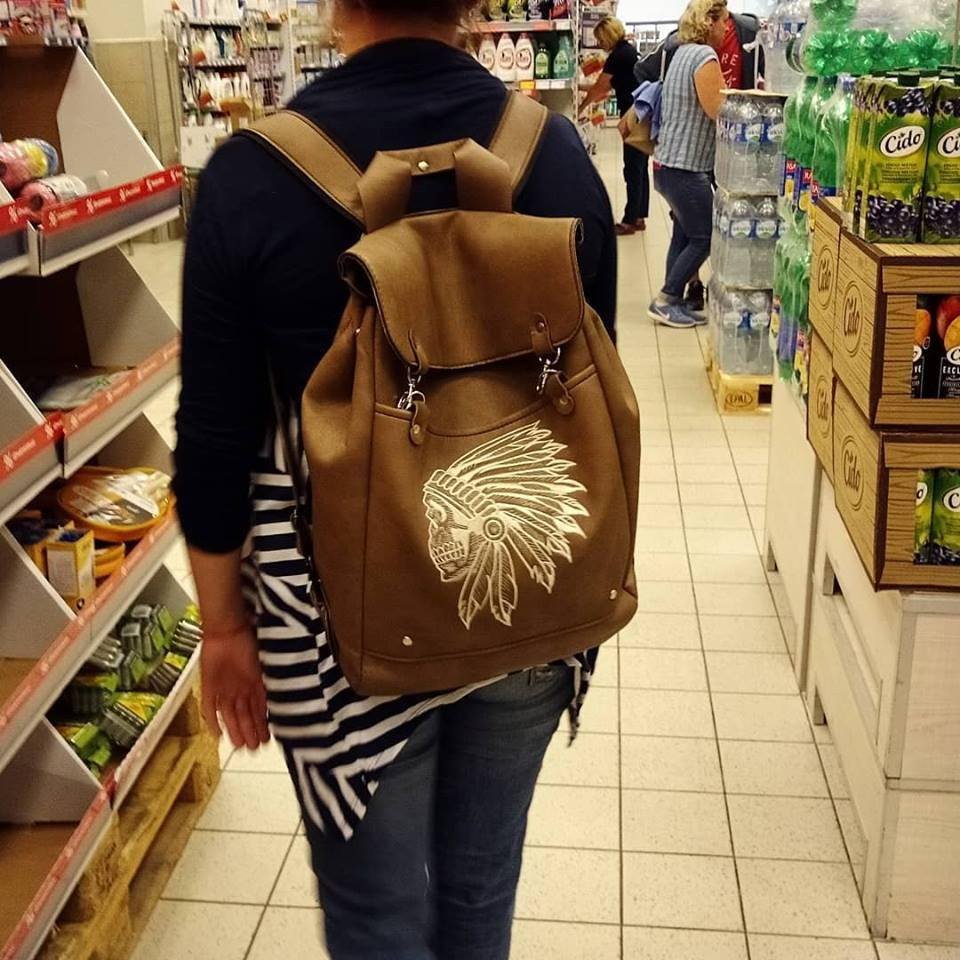 Embroidered backpack with Indian skull design