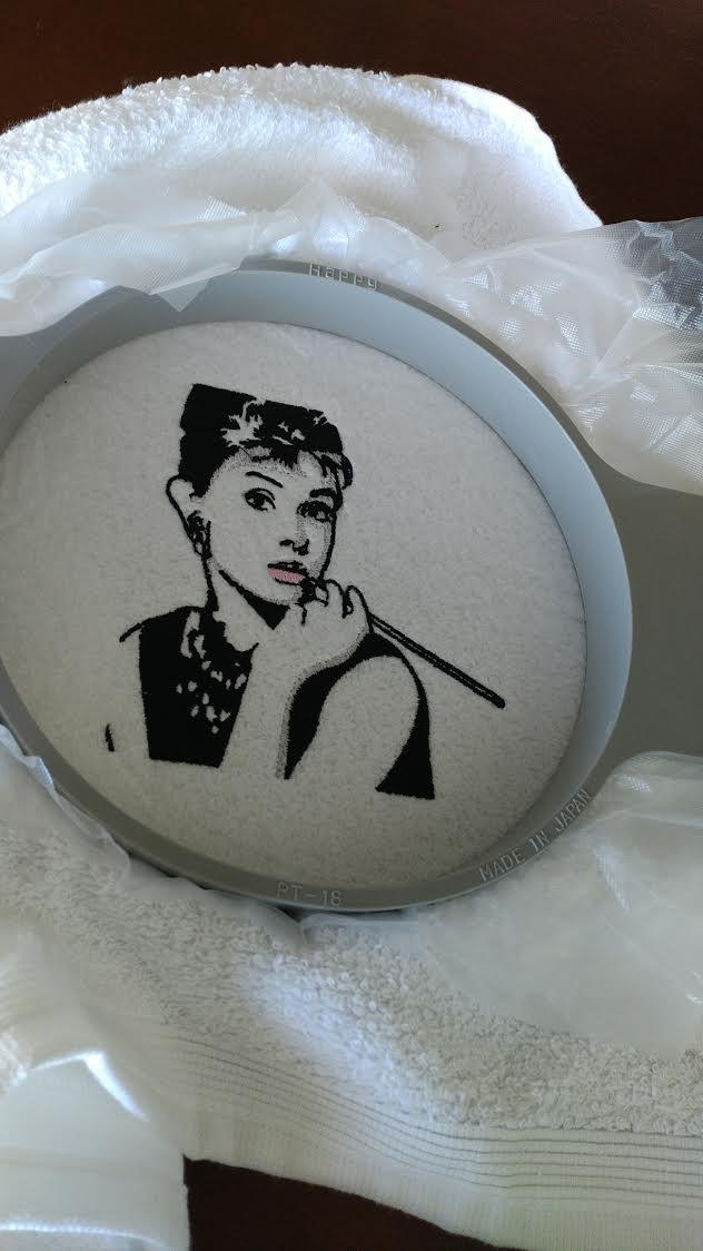 Audrey Hepburn machine embroidery design