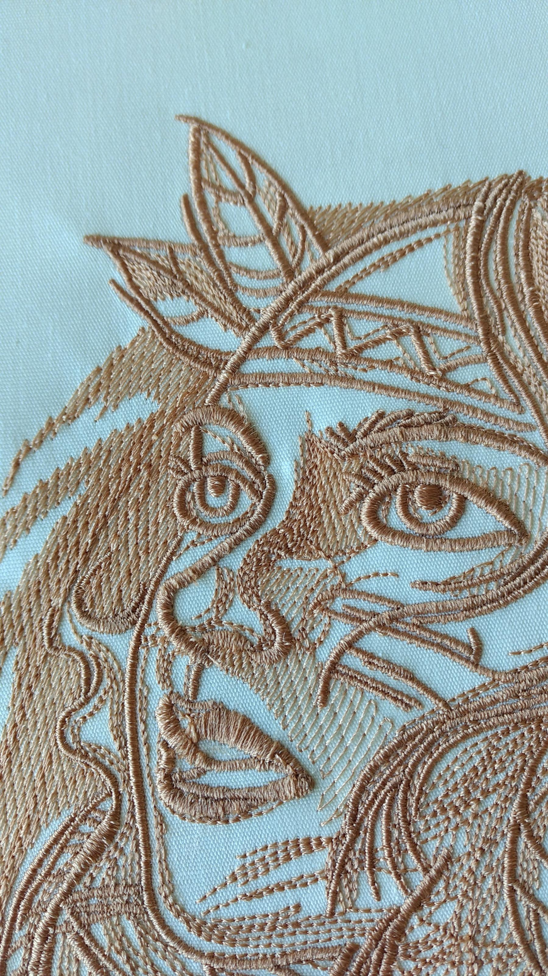 Young woman face embroidery design