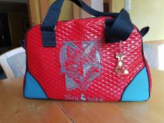 Embroidered bag blue fox