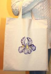Embroidered bag with violet iris free design