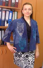 Embroidered jeans jacket with wise owl design