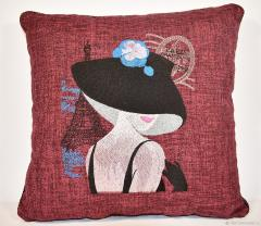 Embroidered pillow French coquette