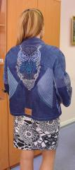 Embroidered jacket with wise owl design