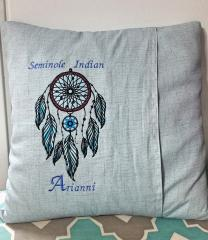 Embroidered cushion with Seminole dreamcatcher design