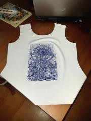 Embroidered billet sun flower free design