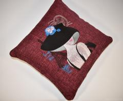 Embroidered cushion French coquette