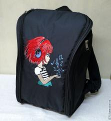 Embroidered backpack with girl listening music design