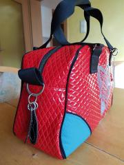 Embroidered bag with blue fox
