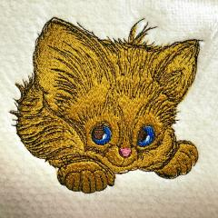 Adorable kitten embroidery design