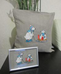 Embroidered set with polar bears design