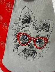 Merry terrier embroidery design