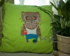 Embroidered cushion with owl at morning design