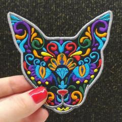 Embroidered applique Mexican cat design